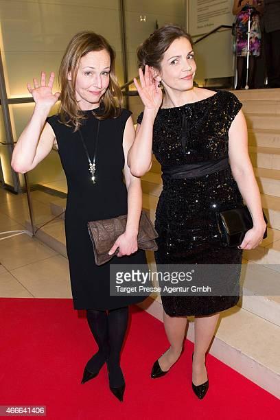 Rebecca Immanuel and Beate Maes attend the Deutscher Hoerfilmpreis 2015 at Deutsche Bank on March 17 2015 in Berlin Germany