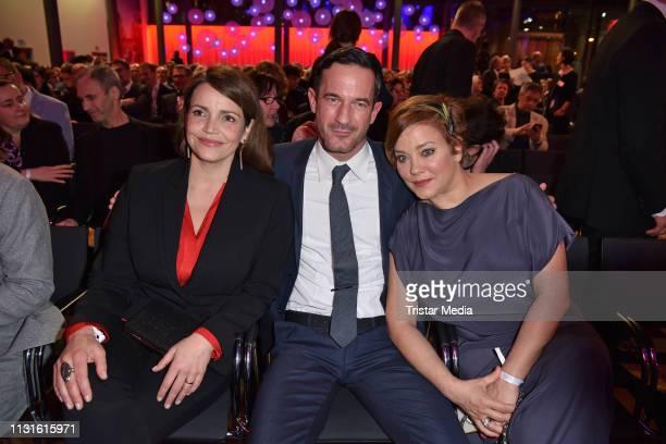 Rebecca Immanuel, Soenke Moehring and Muriel Baumeister attend the Deutscher Hoerfilmpreis on March 19, 2019 in Berlin, Germany.