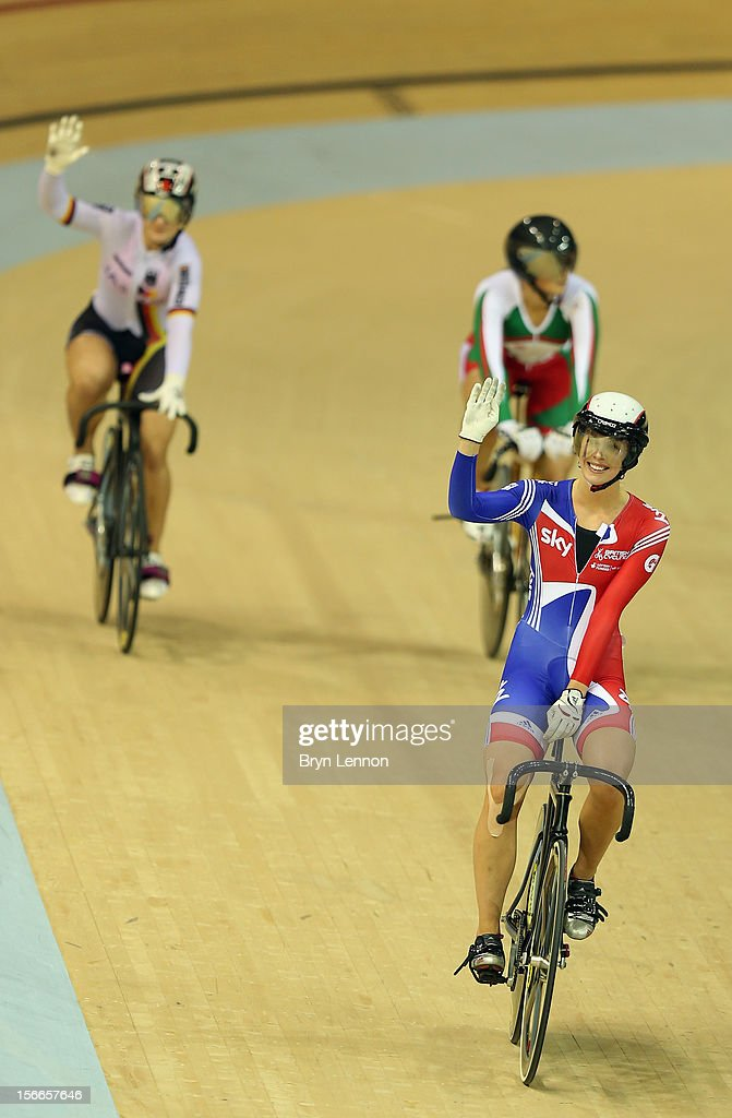 Rebecca James of Great Britain acknowledges the crowd after the final of the Women's Kierin during day three of the UCI Track Cycling World Cup at the Sir Chris Hoy Velodrome on November 18, 2012 in Glasgow, Scotland.