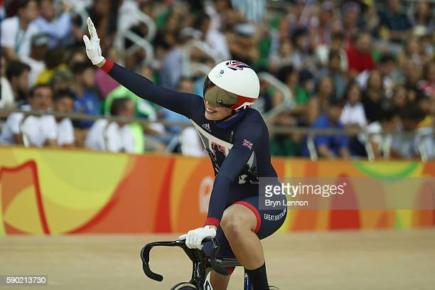 Rebecca James of Great Britain celebrates after the Women's Sprint Semifinal heat race on Day 11 of the Rio 2016 Olympic Games at the Rio Olympic...