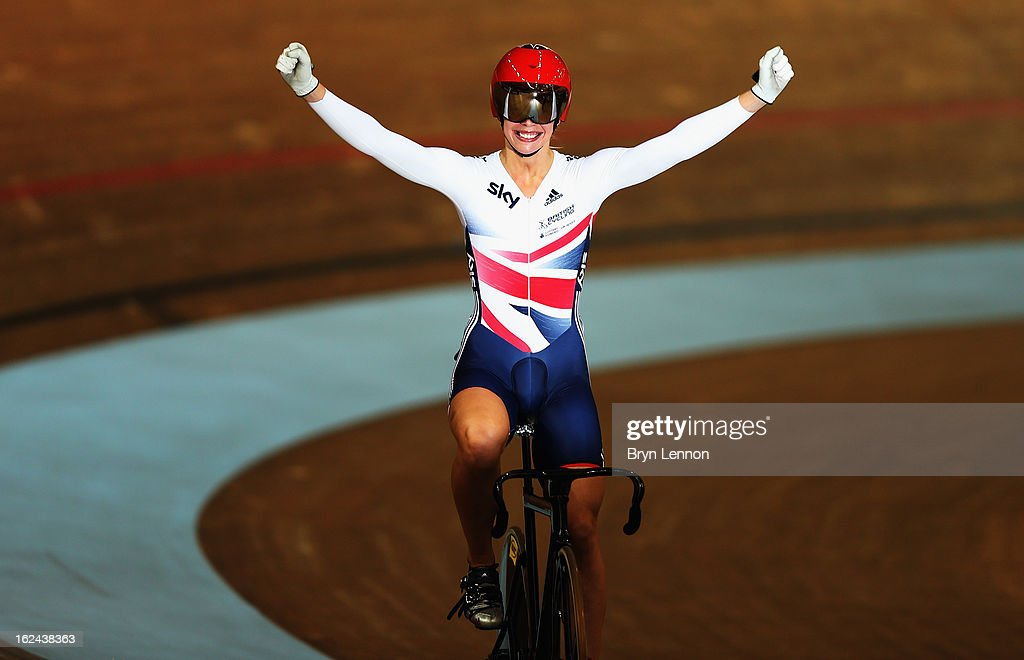 Rebecca James of Great Britain celebrates winning the final of the Women's Sprint on day four of the 2013 UCI Track World Championships at the Minsk Arena on February 23, 2013 in Minsk, Belarus.