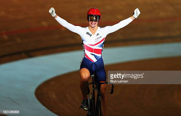 Rebecca James of Great Britain celebrates winning the final of the Women's Sprint on day four of the 2013 UCI Track World Championships at the Minsk...