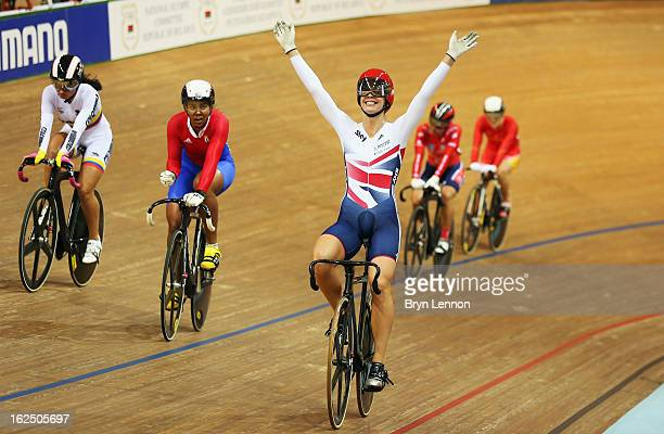 Rebecca James of Great Britain celebrates winning the Women's Keirin final on day five of the 2013 UCI Track World Championships at the Minsk Arena...