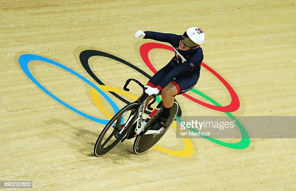 Rebecca James of Great Britain competes in the semi final of the Women's Sprint at Rio Olympic Velodrome on August 16, 2016 in Rio de Janeiro, Brazil.