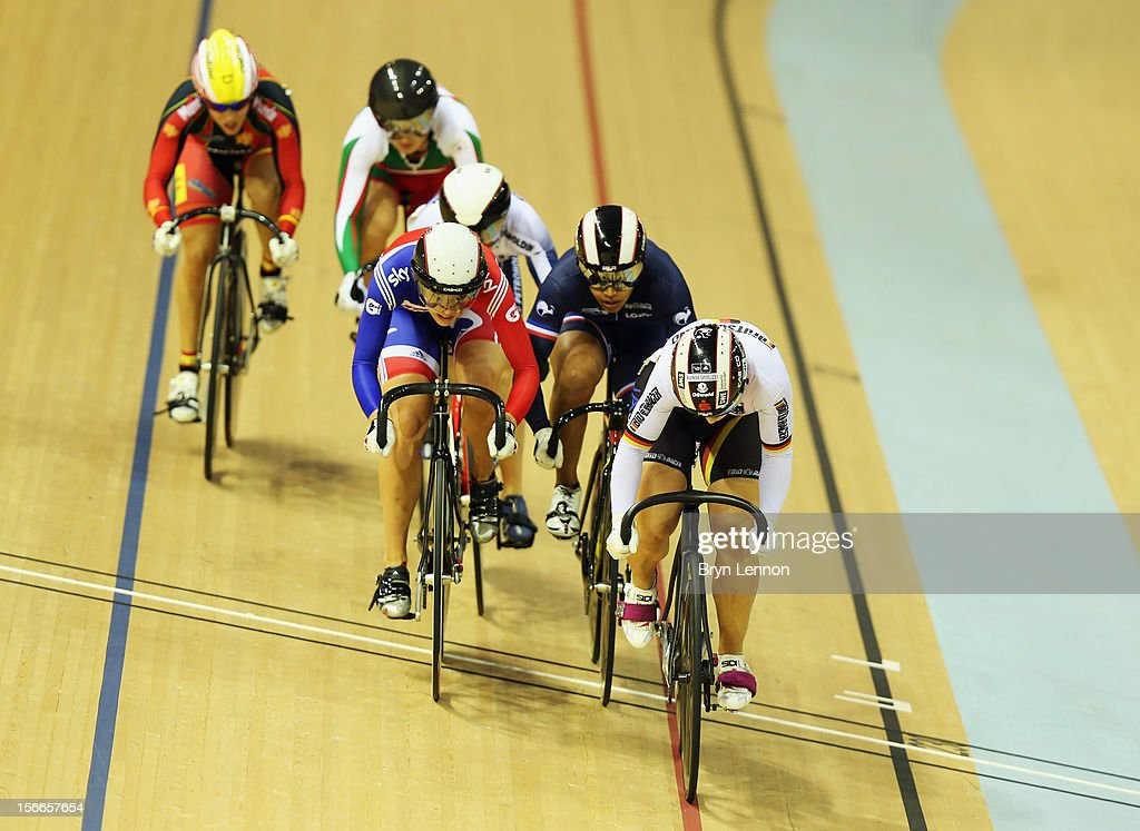 Rebecca James (centre) of Great Britain rides in the Women's Kierin during day three of the UCI Track Cycling World Cup at the Sir Chris Hoy Velodrome on November 18, 2012 in Glasgow, Scotland.