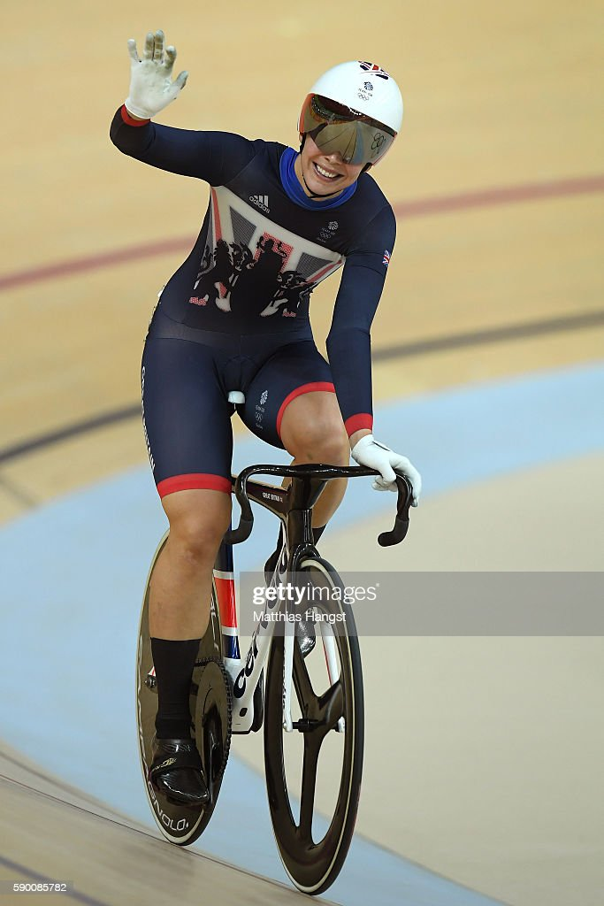Rebecca James of Great Britain wins heat 1 against Tianshi Zhong of China during a Women's Sprint Quarterfinal race on Day 11 of the Rio 2016 Olympic Games at the Rio Olympic Velodrome on August 16, 2016 in Rio de Janeiro, Brazil.