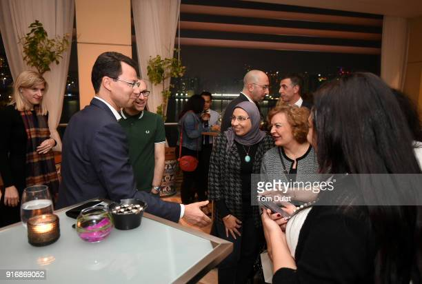Rebecca Jarvest Olivier Thomas Enas Moheseien Laila Hafez and Reem Mahmoud attend cocktail reception at Cafe Milano Four Seasons Hotel Abu Dhabi at...