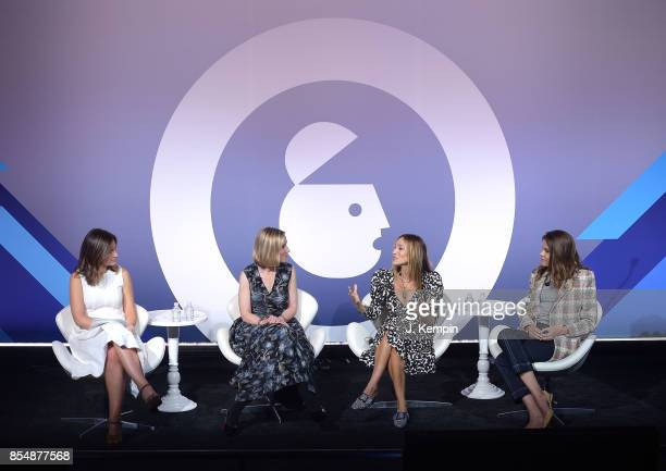 Rebecca Jarvis Marne Levine Sarah Jessica Parker and Emily Weiss attend the panel discussion for 'The Instagram Effect Where Business And Passions...
