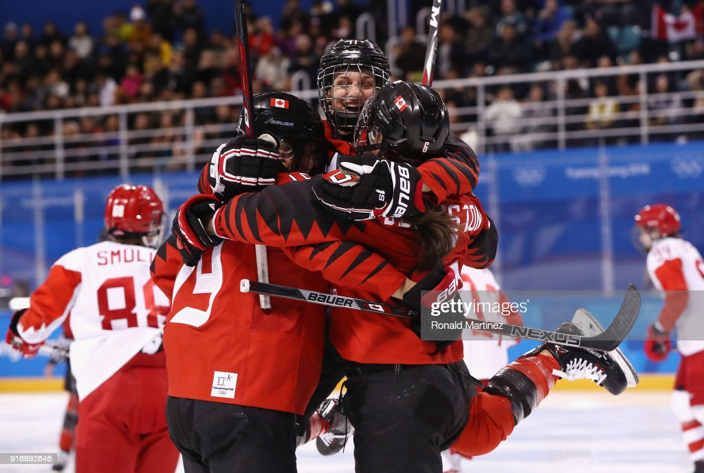 Rebecca Johnston #6 of Canada celebrates with teammates after scoring a goal in the second period against Olympic Athletes from Russia during the Women's Ice Hockey Preliminary Round - Group A game on day two of the PyeongChang 2018 Winter Olympic Games at Kwandong Hockey Centre on February 11, 2018 in Gangneung, South Korea.
