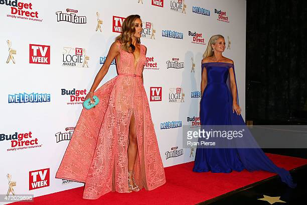 Rebecca Judd and Livinia Nixon arrive at the 57th Annual Logie Awards at Crown Palladium on May 3 2015 in Melbourne Australia