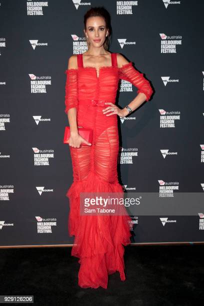 Rebecca Judd arrives ahead of the VAMFF 2018 Runway 5 presented by InStyle on March 8 2018 in Melbourne Australia