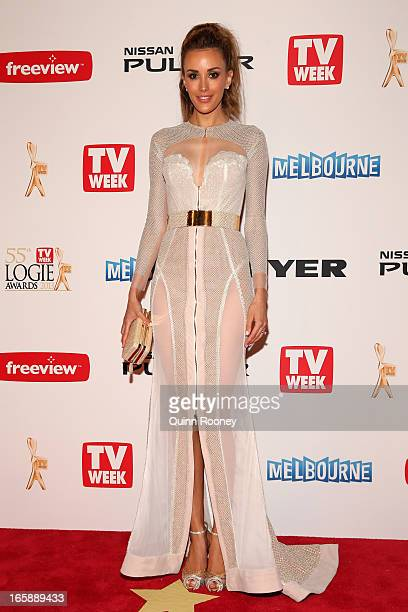 Rebecca Judd arrives at the 2013 Logie Awards at the Crown Palladium on April 7 2013 in Melbourne Australia
