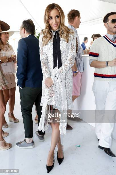 Bec Judd arrives at the Fashion Aid Twilight Beach Polo on February 16 2018 in Melbourne Australia
