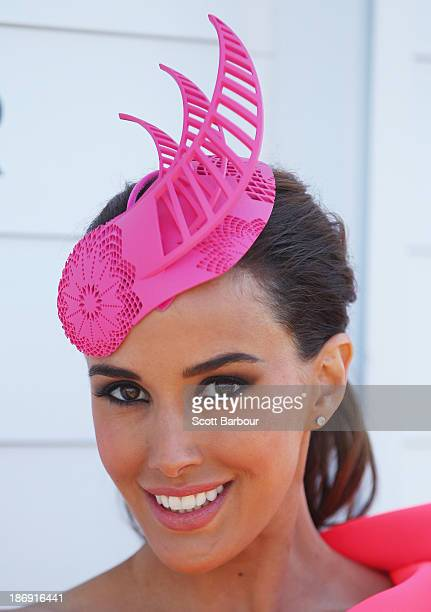Rebecca Judd poses as she attends the Myer marquee during Melbourne Cup Day at Flemington Racecourse on November 5 2013 in Melbourne Australia