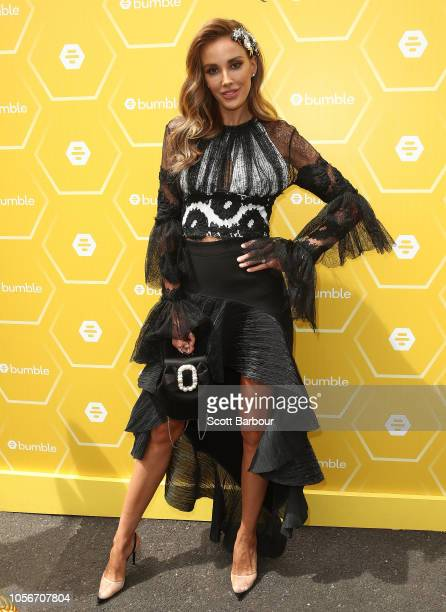 Rebecca Judd poses at the Bumble Marquee on Derby Day at Flemington Racecourse on November 3 2018 in Melbourne Australia