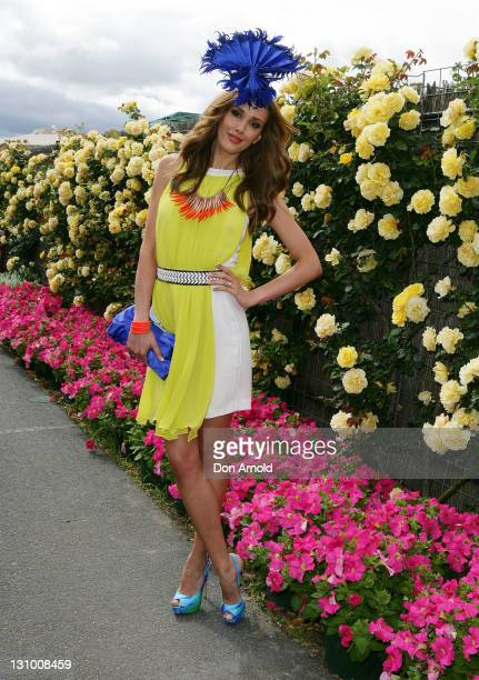 Rebecca Judd poses outside the Myer marquee during Melbourne Cup Day at Flemington Racecourse on November 1 2011 in Melbourne Australia