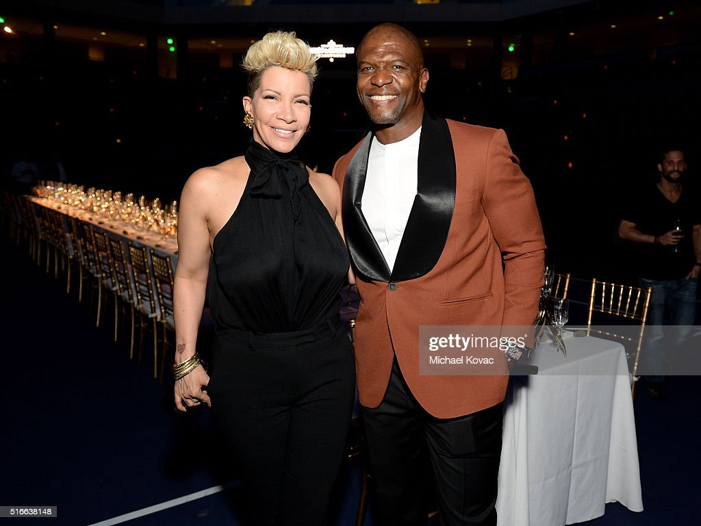 Rebecca King-Crews (L) and Terry Crews attend The Moet and Chandon Inaugural 'Holding Court' Dinner at The 2016 BNP Paribas Open on March 19, 2016 in Indian Wells, California.