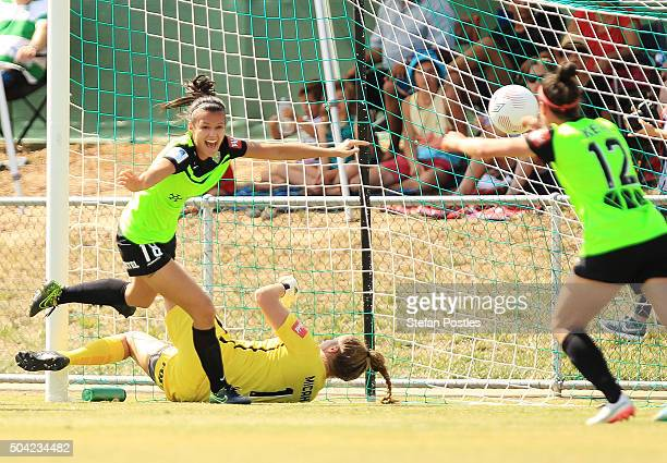 Rebecca Kiting of Canberra United celebrates after scoring a goal during the round 13 WLeague match between Canberra United and the Western Sydney...