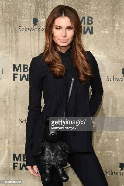 Rebecca Kunikowski attends the Lena Hoschek show during Berlin Fashion Week Autumn/Winter 2020 at Kraftwerk Mitte on January 15, 2020 in Berlin,...