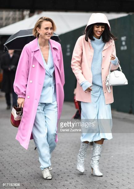 Rebecca Laurey and Babba Canales Rivera are seen outside the Tibi show during New York Fashion Week: Women's A/W 2018 on February 11, 2018 in New...