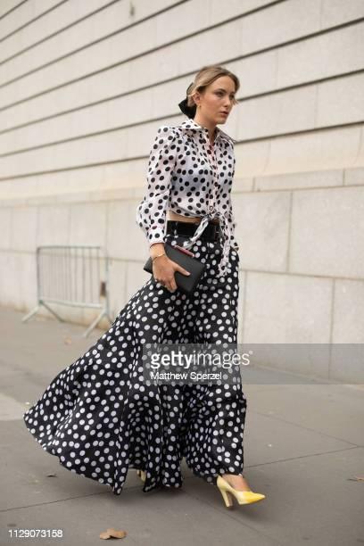 Rebecca Laurey is seen on the street during New York Fashion Week AW19 wearing Carolina Herrera on February 11 2019 in New York City