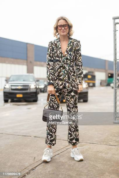 Rebecca Laurey is seen on the street during New York Fashion Week AW19 wearing BOSS on February 13 2019 in New York City