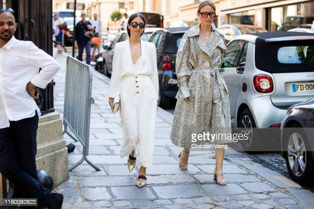 Rebecca Laurey is seen wearing coat with snake print outside Zuhair Murad during Paris Fashion Week Haute Couture Fall/Winter 2019/2020 on July 03...