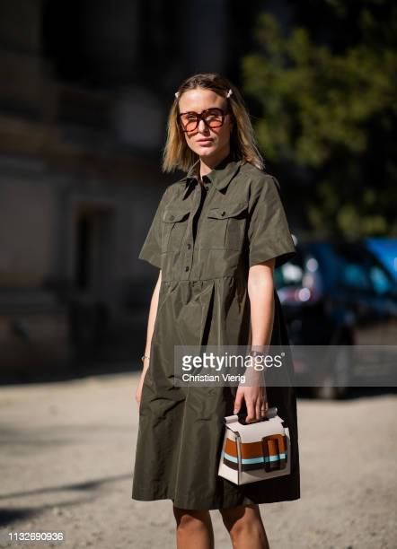 Rebecca Laurey is seen wearing olive dress Boyy bag outside Unravel Project during Paris Fashion Week Womenswear Fall/Winter 2019/2020 on February 27...