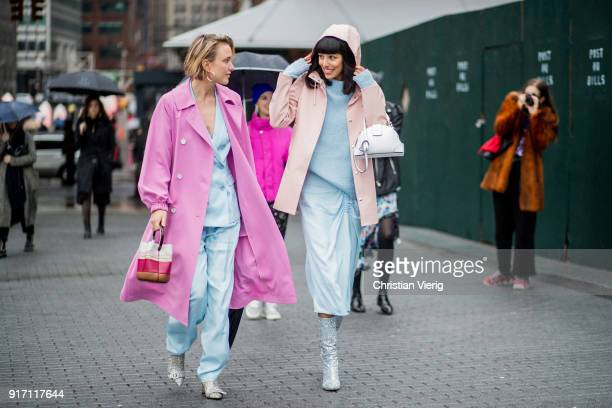 Rebecca Laurey wearing pink coat blue suit and Babba Canales Rivera seen outside Tibi on February 11 2018 in New York City