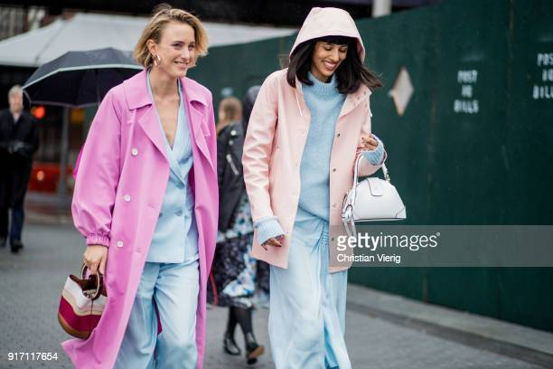 Rebecca Laurey wearing pink coat, blue suit and Babba Canales Rivera seen outside Tibi on February 11, 2018 in New York City.