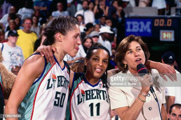 Rebecca Lobo Teresa Weatherspoon and General Manager Carol Blazejowski of the New York Liberty address the crowd before the game against the...