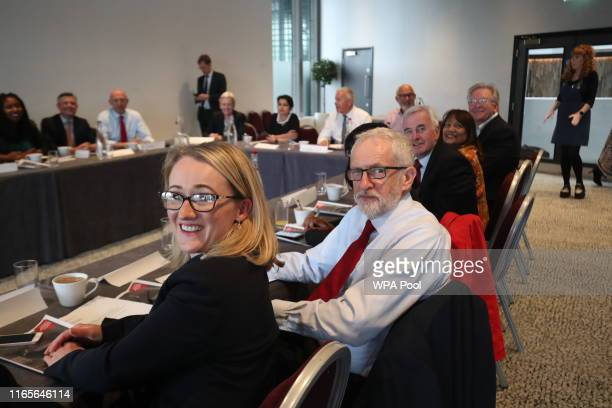 Rebecca LongBailey and Jeremy Corbyn attend a shadow cabinet meeting at the Lowry Theatre in The Quays in Salford on September 2 2019 in Salford...