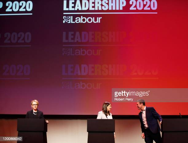 Rebecca LongBailey Lisa Nandy and Sir Keir Starmer at the Labour leadership hustings on the stage at SEC in Glasgow on February 15 2020 in Glasgow...