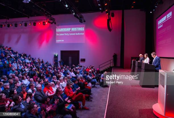 Rebecca LongBailey Lisa Nandy and Sir Keir Starmer speaking at the Labour leadership hustings on the stage at SEC in Glasgow on February 15 2020 in...