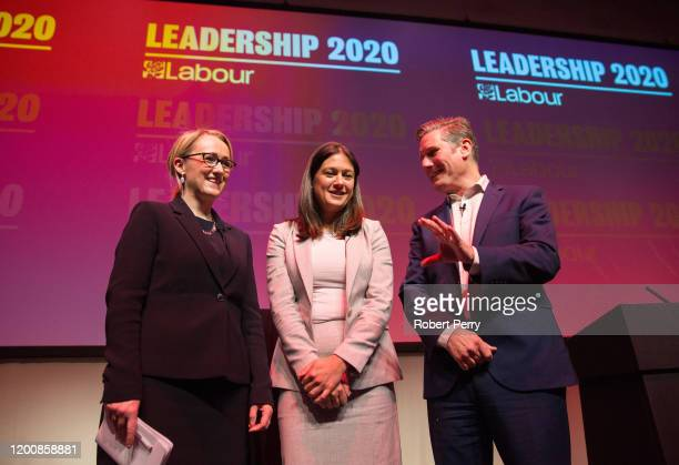 Rebecca Long-Bailey, Lisa Nandy and Sir Keir Starmer stand together after speaking at the Labour leadership hustings on the stage at SEC in Glasgow...