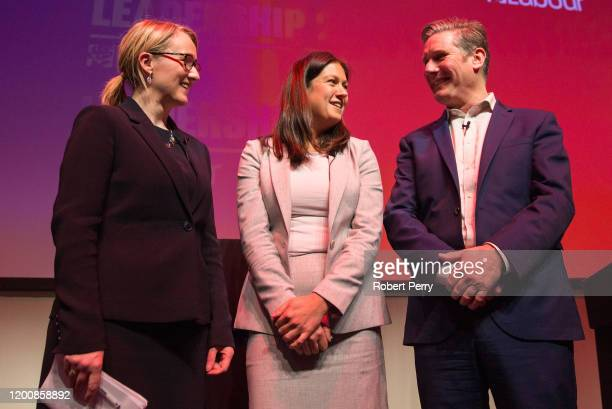 Rebecca LongBailey Lisa Nandy and Sir Keir Starmer stand together after speaking at the Labour leadership hustings on the stage at SEC in Glasgow on...