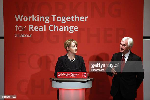 Rebecca LongBailey shadow chief secretary to the treasury for the UK opposition Labour party left looks on as John McDonnell finance spokesman of the...