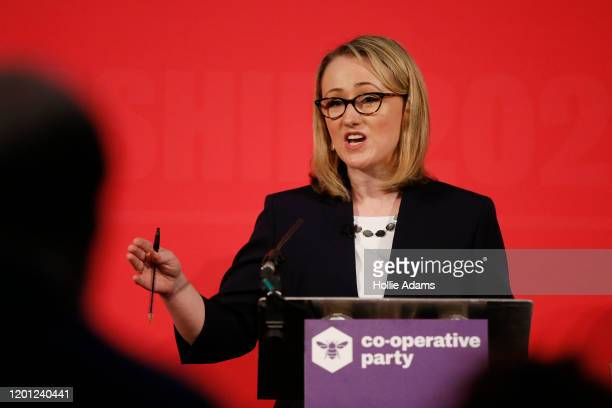 Rebecca LongBailey speaking at a hustings event for Labour Leader and Deputy Leader hosted by the Cooperative Party at the Business Design Centre on...