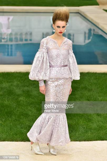 Rebecca Longendyke walks the runway during the Chanel Spring Summer 2019 show as part of Paris Fashion Week on January 22 2019 in Paris France