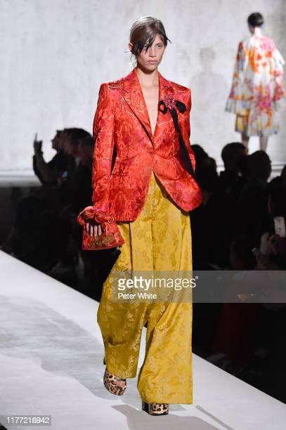 Rebecca Longendyke walks the runway during the Dries Van Noten Womenswear Spring/Summer 2020 show as part of Paris Fashion Week on September 25, 2019...