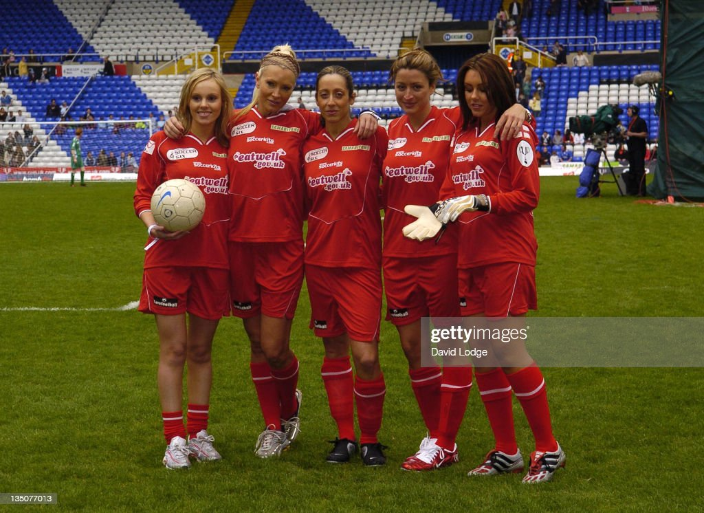 Rebecca Loos and Caprice and Michelle Heaton during Soccer Six at Birmingham City Football Club - May 14, 2006 at St Andrews Stadium in Birmingham, Great Britain.