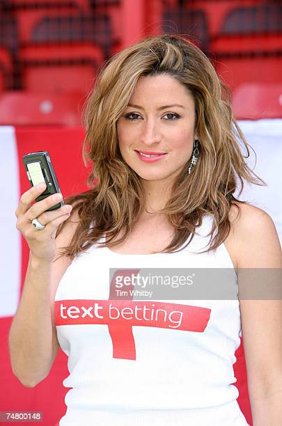 Rebecca Loos revealing herself as the new face of Totesport Text Betting at the Leyton Orient FC in London United Kingdom