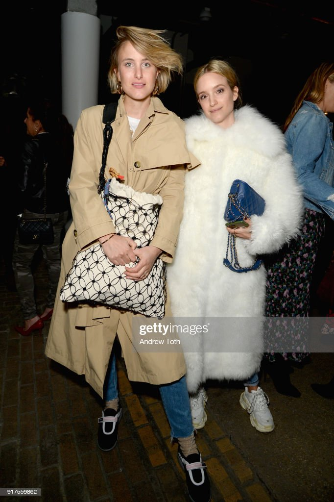 Rebecca Lorie and Charlotte Groeneveld poses backstage for the Veronica Beard Fall 2018 presentation at Highline Stages on February 12, 2018 in New York City.