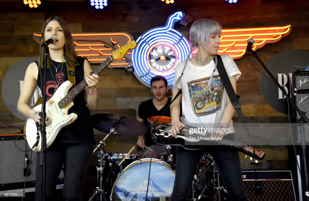 Rebecca Lovell (L) and Megan Lovell of Larkin Poe perform during BMI Howdy Texas Bar-B-Que at Yeti during the South by Southwest Conference and Festivals on March 13, 2018 in Austin, Texas.