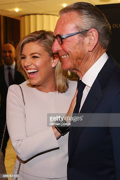 Rebecca Maddern and her stepdad Rex Gorell arrive ahead of Crown's inaugural Father's Day luncheon at Crown Entertainment Complex on September 3 2015...