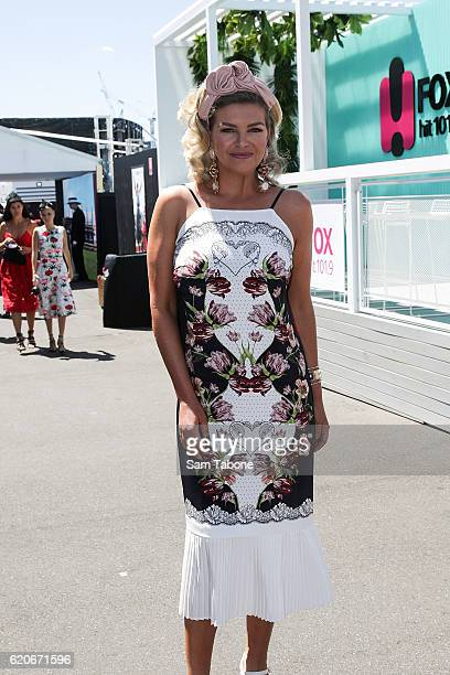 Rebecca Maddern arrives at Oaks Day at Flemington Racecourse on November 3 2016 in Melbourne Australia