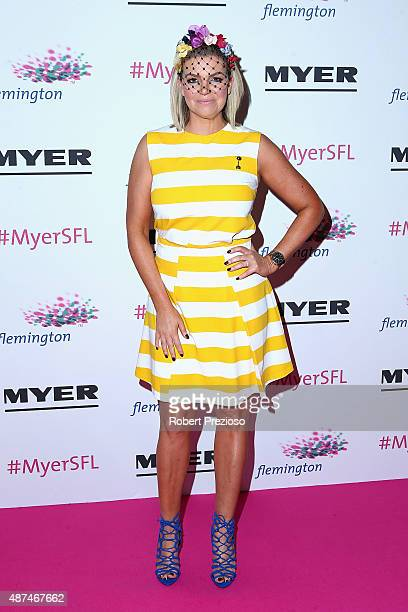 Rebecca Maddern arrives during the Myer Spring Fashion launch at Flemington Racecourse on September 10 2015 in Melbourne Australia