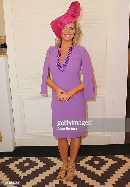 Rebecca Maddern at the Emirates Marquee on Oaks Day at Flemington Racecourse on November 6 2014 in Melbourne Australia