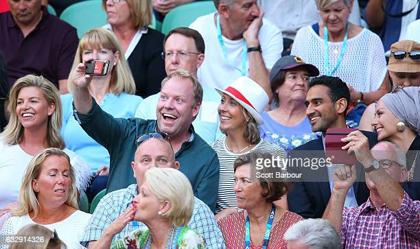 Rebecca Maddern Peter Helliar Bridget Helliar Waleed Aly and his wife Susan Carland attend the Women's Singles Final match between Venus Williams of...