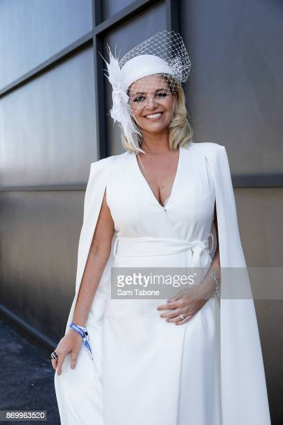 Rebecca Maddern poses at Derby Day at Flemington Racecourse on November 4 2017 in Melbourne Australia